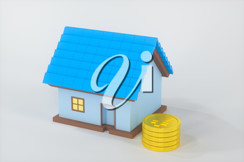 The small house model beside the golden coins, 3d rendering. Computer digital drawing.
