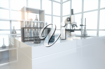 Experimental apparatus with an empty laboratory,white background,3d rendering. Computer digital drawing.