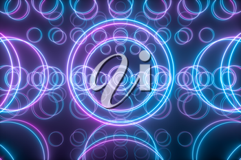 Geometric figures and neon lights,abstract conception,3d rendering. Computer digital drawing.