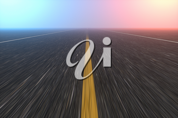 Straight highway with dark background,abstract conception,3d rendering. Computer digital drawing.