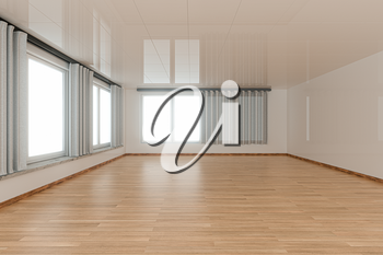 Empty room and wooden floor with white background,3d rendering. Computer digital drawing.