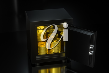 Mechanical safe, with shiny golden coins inside, 3d rendering. Computer digital drawing.