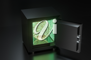 Mechanical safe, with digital numbers inside, 3d rendering. Computer digital drawing.
