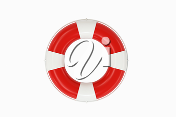 Life buoy with white background, 3d rendering. Computer digital drawing.