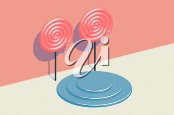 Candy pattern with a round object stage, raster illustration. Computer digital drawing.