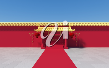 Chinese palace walls, red walls and golden tiles, 3d rendering.Translation: 'blessing'. Computer digital drawing.