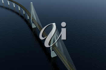 The suspension bridge over the lake, 3d rendering. Computer digital drawing.