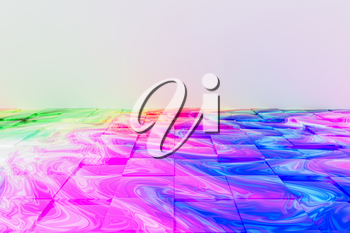 Cubes floor with wave colorful painting pattern, 3d rendering. Computer digital drawing.