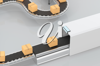 Transmitting of packaging box on the conveyor belt, 3d rendering. Computer digital drawing.