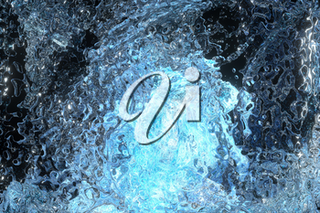 Glass ice with glowing particles inside, 3d rendering. Computer digital drawing.