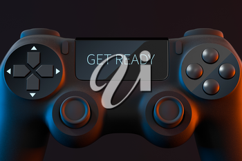 Game pad with GET READY on the screen, 3d rendering. Computer digital drawing.