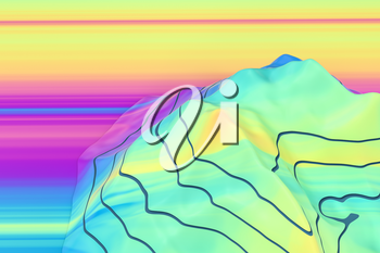 Topographic map background Valley and mountain, 3d rendering. Computer digital drawing.