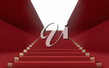 Large steps in the luxury palace, 3d rendering. Computer digital drawing.