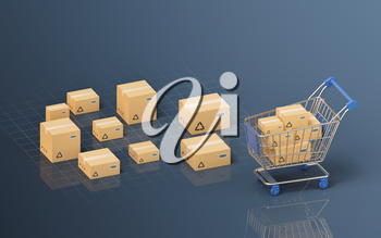 Recyclable boxes and logistics transportation, 3d rendering. Computer digital drawing.