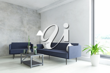 Elegant Interior Room with Contemporary Furniture, Blue Sofa, Armchair, Lamp, Plant and Table with Modern  Accessories near the Old White Wall, Fashion Style, 3D Rendering Illustration Design