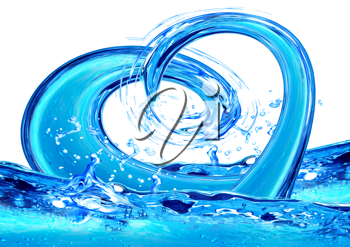 Royalty Free Clipart Image of a Water Splashing to Create a Heart Shape