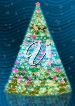 Royalty Free Clipart Image of a Decorative Christmas Tree