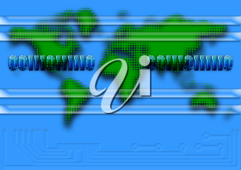 Royalty Free Clipart Image of a Background With a Map of the World