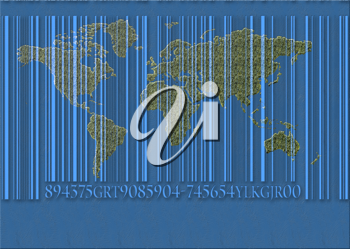 Royalty Free Clipart Image of a Concept of the World and a Bar Code