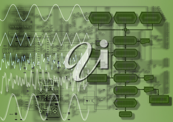 Royalty Free Clipart Image of a Concept of a Flowchart With Electronics