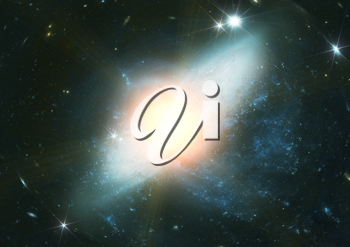 Stars and spiral galaxy in a free space