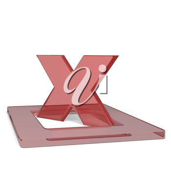 Red 3d symbol of cross mark on white background