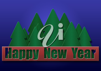 Royalty Free Clipart Image of a Happy New Year Background With Trees