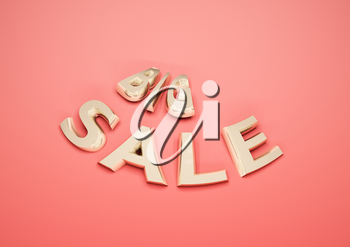 Dimensional inscription of Big SALE isolated on background. 3D illustration.