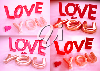 Set of pictures inscription of LOVE YOU and heart near it. 3D rendering.