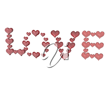Royalty Free Clipart Image of Love Spelled in Hearts