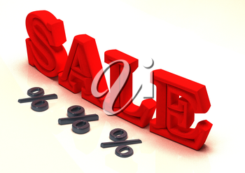Glossy red three-dimensional inscription Sale as a sign.
