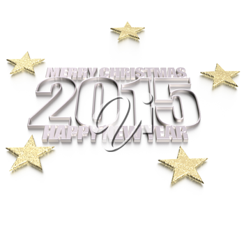 3d text 2015 happy new year design.