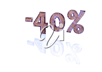 Transparent inscription minus 40 percent with a set of gold signs of percent in it