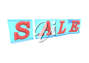 The SALE word made of blocks with letters