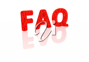 Abbreviation FAQ consisting of a set of small question marks on the white backdrop.