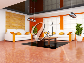 Royalty Free Clipart Image of a Living Room Interior