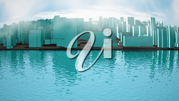Royalty Free Clipart Image of a City Landscape