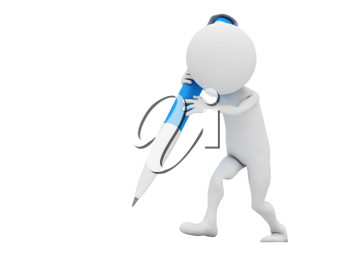 Royalty Free Clipart Image of a Figure with a Blue Pen