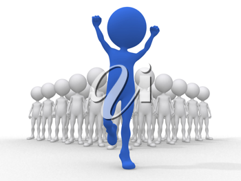 Royalty Free Clipart Image of Blue Figure Cheering and Others Behind