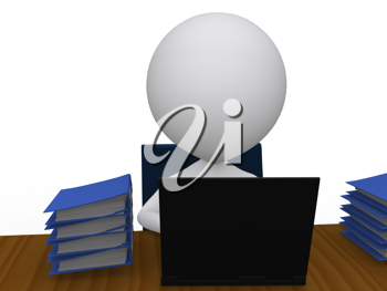 Royalty Free Clipart Image of a Person with a Pile of Books