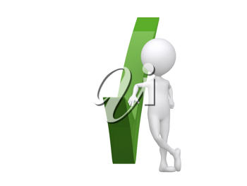 Royalty Free Clipart Image of a Figure With a Green Check