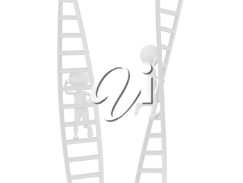 Royalty Free Clipart Image of Figures Climbing Up Ladders