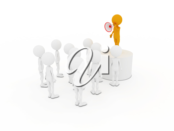Royalty Free Clipart Image of a Person Using a Bullhorn to Speak to a Group