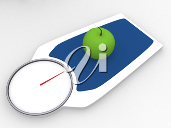 Royalty Free Clipart Image of an Apple on a Weight Scale