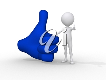 Royalty Free Clipart Image of a Figure Beside a Thumbs Up