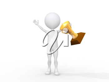 Royalty Free Clipart Image of a Figure With a Prize