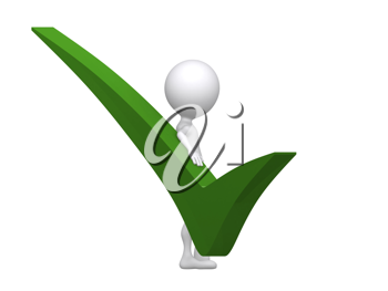 Royalty Free Clipart Image of a Person With a Green Checkmark