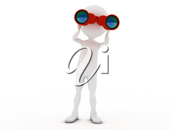 Royalty Free Clipart Image of a Figure Looking Through Binoculars