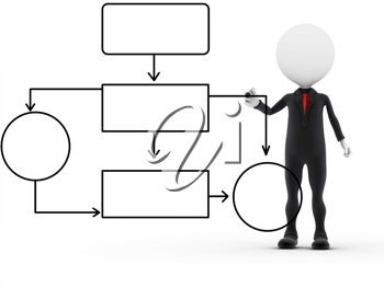 Royalty Free Clipart Image of a Figure Drawing Out a Graph