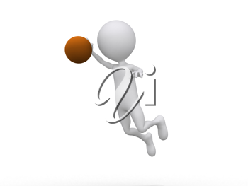 Royalty Free Clipart Image of a Figure Making a Dunk With a Basketball